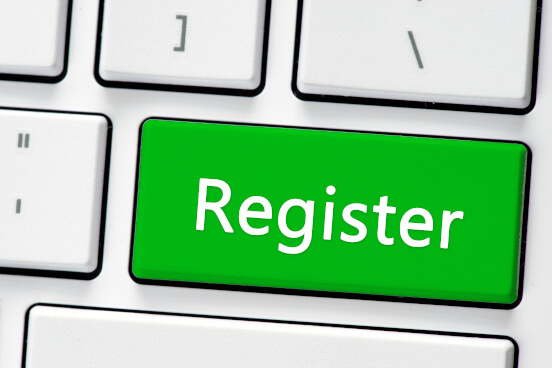 Register written on a green keyboard button