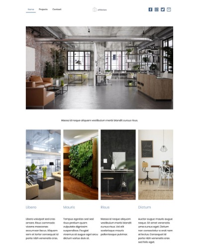 Screenshot of a portfolio website with images of interior designs
