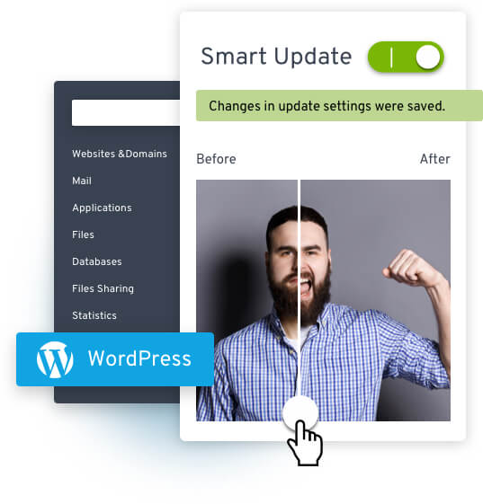 Collage: WordPress logo; Dashboard with Smart Update changes in update settings were saved written out; Man with beard