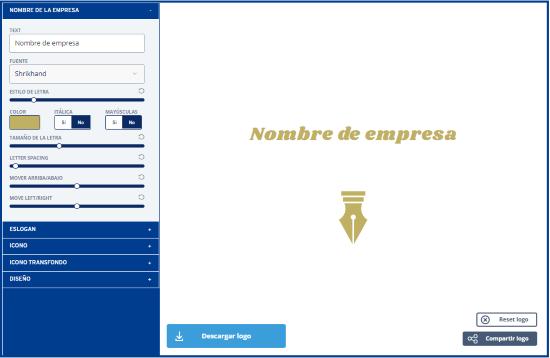 Generador de Logo  editar diseño