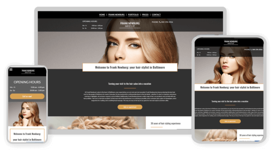 Screenshots of a hairdressers website on various end devices