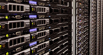 Close up of a server rack