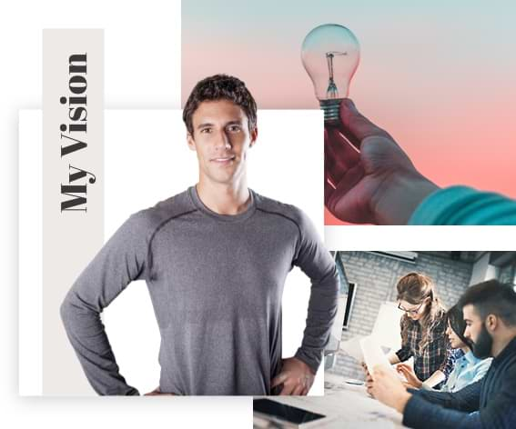 Collage; Hand holding a lightbulb; Man with his hands on his hips looking at the camera; Two people working together on a computer