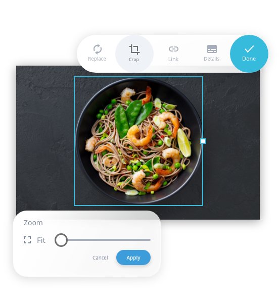 Example of how you can adapt an image; In this case a picture of a dish with food and the filters that can be adjusted