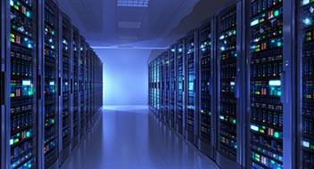 Data center lit in blue