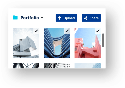 Graphical display: Real Estate website editor with option to upload or share images