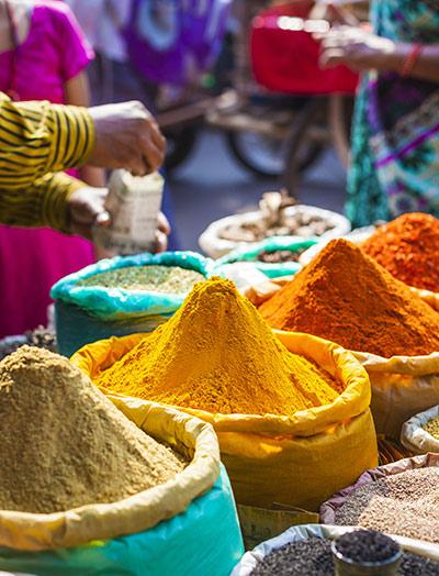 Farbige Gewürzpulver und Kräuter auf dem traditionellen Markt in Delhi. Indien