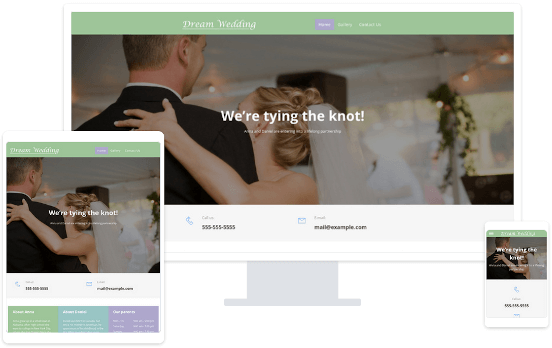 Screenshots from a wedding website on a desktop, tablet and smartphone