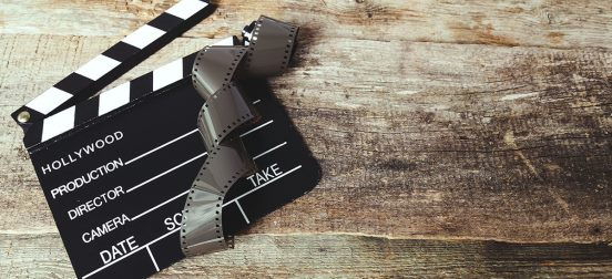 Clapperboard on a piece of wood