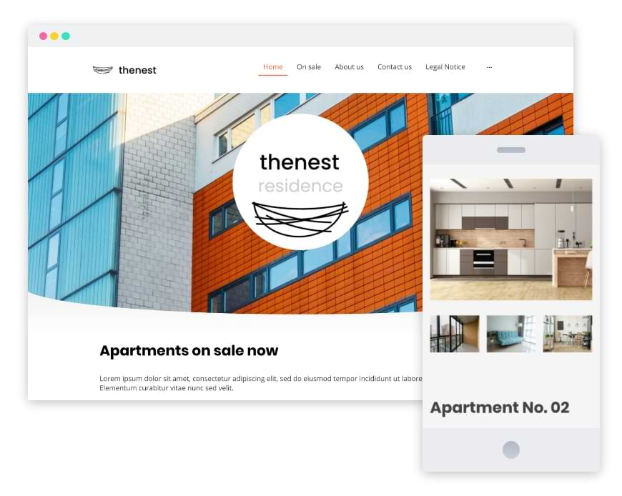 Screenshots of a real estate agents website in various formats