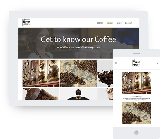 eCommerce website template for Cafe; Coffee shop