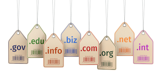 Price tags labelled with domain extensions