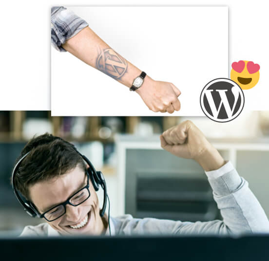 Collage: Man wearing a headset with his arm held above his head; Tattooed arm with WordPress logo; WordPress logo next to a smiley