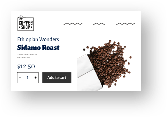 Screenshot from a cafe's website where you can purchase coffee online