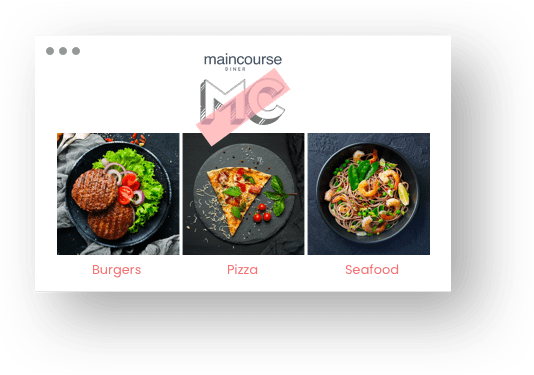 Screenshot from a restaurant website; Various courses on black plates