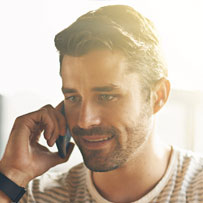 Man with telephone handset