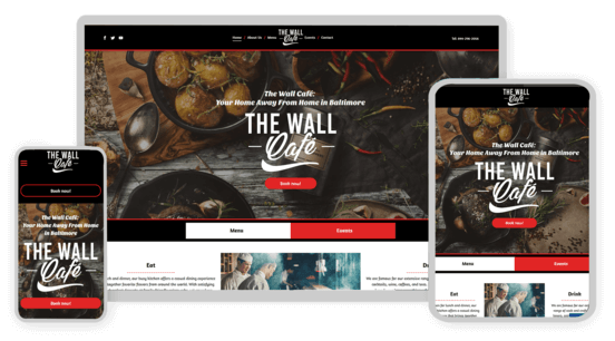 Screenshots of a cafe website on various end devices