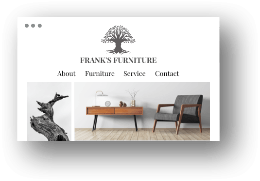Screenshot from a furniture makers website 'Franks Furniture', various images of chairs