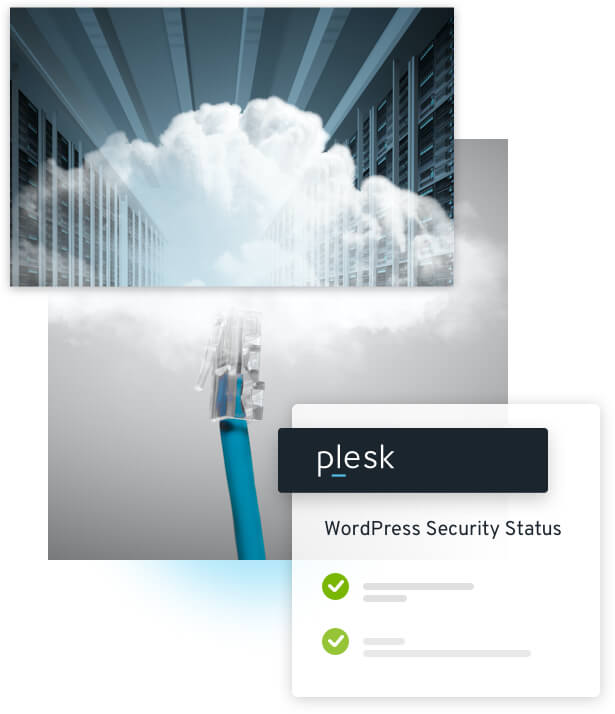 Server rack surrounded in clouds; Plesk dashboard; WordPress Security Status