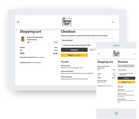 Screenshot from the checkout page of an online store