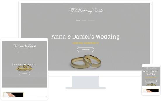 Screenshots from a wedding website on a desktop, tablet and smartphone