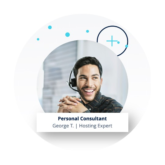 Customer support agent wearing a headset and title: Personal Consultant George T. Hosting Expert