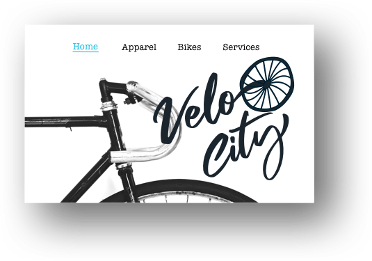 Screenshot from a bicycle websites' homepage