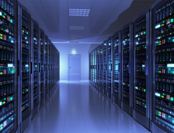 Data centre with blue lights
