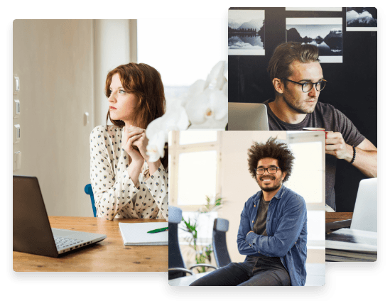 Collage: Woman looking into the distance in front of her laptop; Man sitting on a desktop smiling at camera; Man working hard at his computer