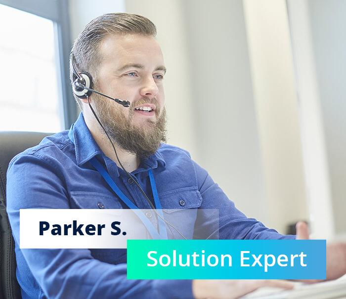 Customer support employee with headset and title: Parker S. Solution Expert